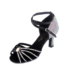 Women's Satin Sandals Pumps Latin Ballroom With Rhinestone Ankle Strap Buckle Dance Shoes