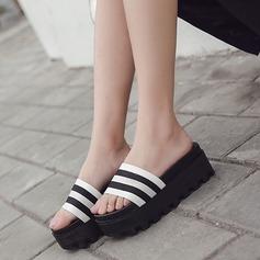 Women's Leatherette Flat Heel Sandals Peep Toe Slippers shoes
