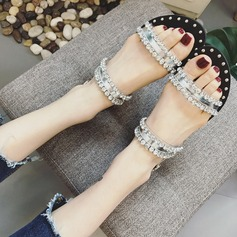 Women's Flat Heel Sandals Peep Toe Slippers With Rhinestone shoes