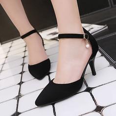 Dla kobiet Zamsz Obcas Stiletto Czólenka Zakryte Palce Z Imitacja Pereł Klamra obuwie