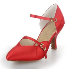 Women's Satin Heels Pumps Ballroom With Buckle Dance Shoes