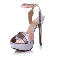 Leatherette Stiletto Heel Sandals Platform Peep Toe Slingbacks With Buckle Split Joint shoes