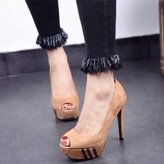 Women's Suede Stiletto Heel Sandals Platform Peep Toe shoes