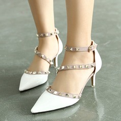 Women's Leatherette Stiletto Heel Closed Toe Pumps Sandals With Rivet