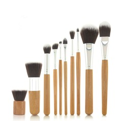 10 Pcs Synthetic Hair Bamboo Handel Makeup Brush Set With Fibre Bag
