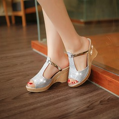 Women's Sparkling Glitter Wedge Heel Sandals Pumps Platform Wedges Slippers With Rivet Sparkling Glitter Jewelry Heel shoes