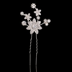 Flower Shaped Rhinestone/Alloy Hairpins (Sold in single piece)