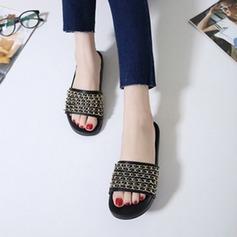 De mujer Cuero Tacón plano Planos Pantuflas con Cadena zapatos