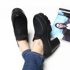 Femmes Toile Talon bottier Escarpins Plateforme Bout fermé chaussures