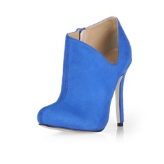 Suede Stiletto Heel Closed Toe Pumps Ankle Boots