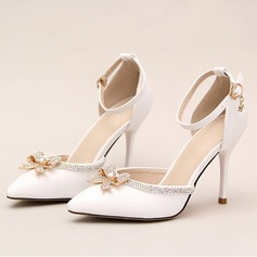 Women's Leatherette Stiletto Heel Closed Toe Pumps With Bowknot Buckle Rhinestone