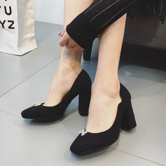 Women's Suede Chunky Heel Pumps With Crystal Bowknot shoes