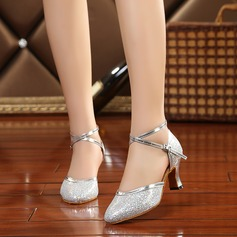 Women's Sparkling Glitter Heels Sandals Latin With Hollow-out Dance Shoes