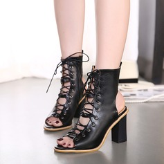 Women's Leatherette Chunky Heel Boots Peep Toe Ankle Boots With Lace-up shoes