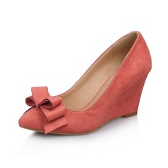 Suede Wedge Heel Closed Toe Wedges With Bowknot shoes