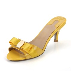 Rugan Alçak Topuk Sandalet Terlik Ile Ilmek ayakkabı
