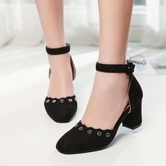 Women's Suede Chunky Heel Sandals Pumps Closed Toe With Buckle Hollow-out shoes