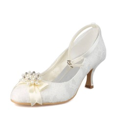 Women's Lace Spool Heel Closed Toe Pumps With Imitation Pearl Rhinestone
