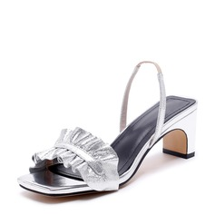 Women's Real Leather Chunky Heel Sandals Beach Wedding Shoes With Ruffles
