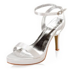 Women's Satin Cone Heel Platform Sandals With Buckle