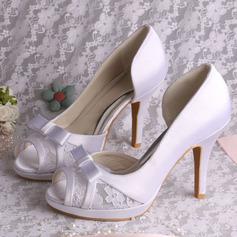 Women's Lace Satin Stiletto Heel Peep Toe Sandals
