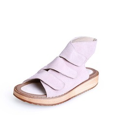 Women's Real Leather Flat Heel Sandals Peep Toe Slingbacks With Velcro shoes