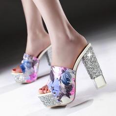 Frauen Kunstleder Stämmiger Absatz Sandalen Absatzschuhe Plateauschuh Pantoffel mit Tierdruckmuster Schmuckabsatz Schuhe