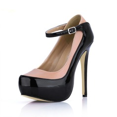 Leatherette Patent Leather Stiletto Heel Pumps Platform Closed Toe With Buckle shoes