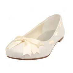 Women's Satin Flat Heel Closed Toe Flats With Bowknot Ribbon Tie