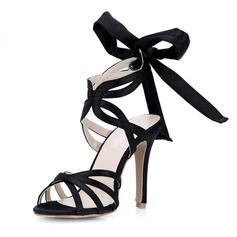 Soie comme du satin Talon stiletto Sandales Escarpins avec Un nœud chaussures