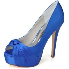 Women's Satin Stiletto Heel Peep Toe Platform Pumps Sandals