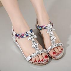 Women's Leatherette Flat Heel Flats Flip-Flops Beach Wedding Shoes With Rhinestone