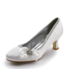 Women's Satin Chunky Heel Closed Toe Pumps With Bowknot Rhinestone