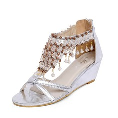Leatherette Wedge Heel Sandals With Rhinestone shoes