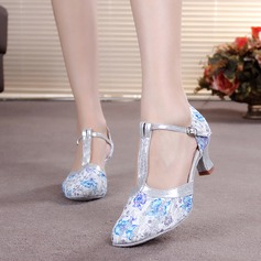 Women's Leatherette Heels Pumps Modern With T-Strap Dance Shoes
