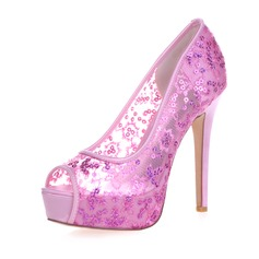 Women's Lace Stiletto Heel Peep Toe Platform Sandals With Sequin