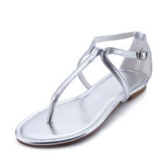 Leatherette Flat Heel Sandals Flats Flip-Flops With Buckle shoes