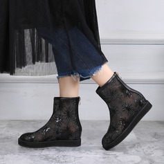 Women's Mesh Flat Heel Boots With Sequin Zipper shoes