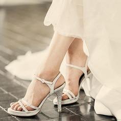 Femmes Vrai cuir Talon stiletto À bout ouvert Plateforme Sandales Beach Wedding Shoes