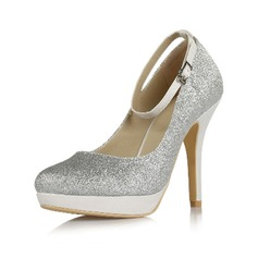 Women's Sparkling Glitter Stiletto Heel Closed Toe Platform Pumps With Buckle