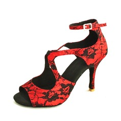 Women's Lace Heels Sandals Latin With Buckle Dance Shoes