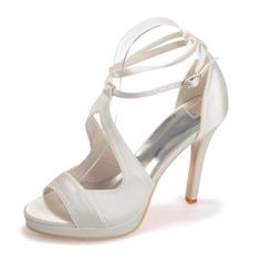 Kvinnor Satäng Stilettklack Peep Toe Plattform Sandaler med Spänne