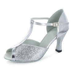 Sparkling Glitter Patent Leather Heels Sandals Latin Dance Shoes With T-Strap