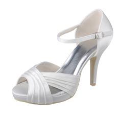 Women's Satin Stiletto Heel Peep Toe Platform Sandals With Buckle Ruched