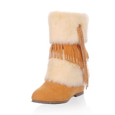 Leatherette Low Heel Mid-Calf Boots Snow Boots With Rhinestone Tassel Fur shoes