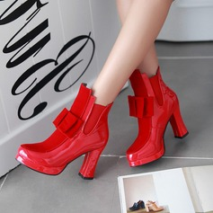 Women's Patent Leather Chunky Heel Boots Ankle Boots With Bowknot Sequin Split Joint shoes