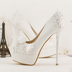 Women's Leatherette Stiletto Heel Closed Toe Platform Pumps With Imitation Pearl Flower