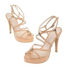 Women's Real Leather Stiletto Heel Peep Toe Platform Sandals Beach Wedding Shoes With Ribbon Tie
