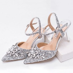 Women's Sparkling Glitter Stiletto Heel Pumps Sandals Slingbacks With Rhinestone