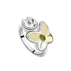 Perhosen Muotoinen Metalliseos jossa Jäljitelmä Kristalli Sonar Naisten Muoti renkaat